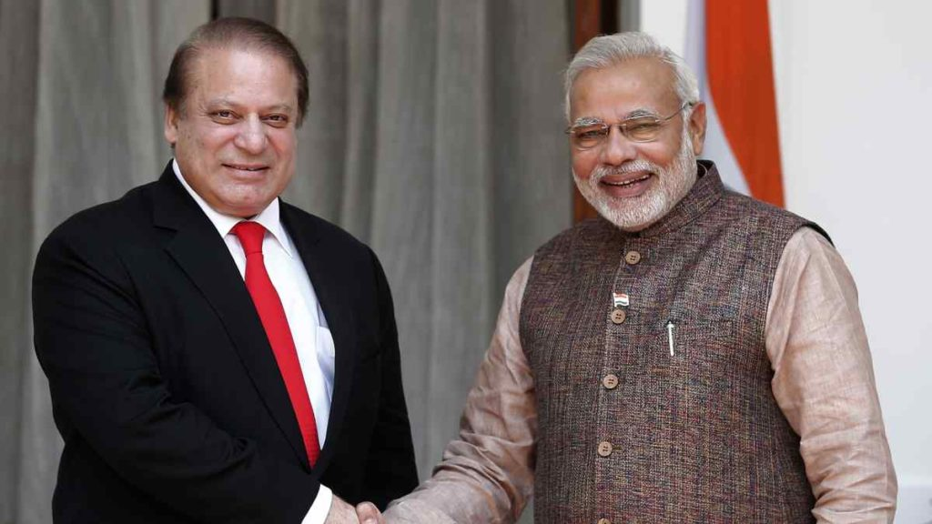 Prime Minister Narendra Modi with his Pakistani counterpart Nawaz Sharif in New Delhi